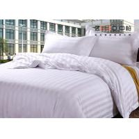 Luxury 250TC Colorful School Hotel Bedding Sets Queen Size Plain Stripe Design for sale