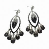 Drop Alloy Earrings with Shiny Crystal, Small Orders Accepted, New OEM Style/Design, Nickel-free Manufactures