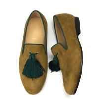 Yellow Mens Velvet Loafers Customized Color Cotton Fabric Lining Material Manufactures
