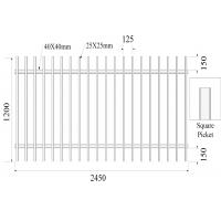 Square picket 25mm x 25mm 2 rail 40mmx40mm x 1.5mm H1200mmXW2450mm Hercules Fence Manufactures