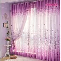 Contemporary Purple Fabric Window Shower Curtain For Bedroom , Emboridered Manufactures