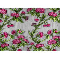 Coloured Embroidery 3D Flower Polyester Lace Fabric By The Yard For Party Dress Manufactures