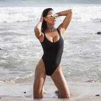 Black Retro Womens Swimming Suits High Cut Low Back One Piece Swimwear Manufactures