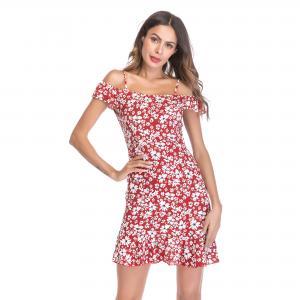 Summer condole belt skirt lotus leaf places the dress with broken flower that show a shoulder