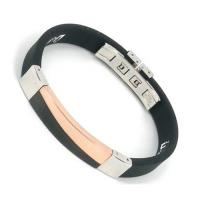 "7.5 - 8.5"" black rubber silver steel energy silicone bracelet with stainless steel Manufactures"