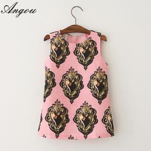 Angou European Girls Dresses Summer Baby Girls Dress Sleeveless New Brand Children clothes Manufactures