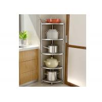 H134 Multi - Layer Stainless Steel Wire Kitchen Racks Corner Fan - Shaped Storage Rack Manufactures