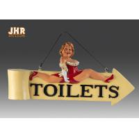 Funny Fat Lady Toilet Direction Signs Decorative Polyresin Figurine Wall Hanging Sign Manufactures