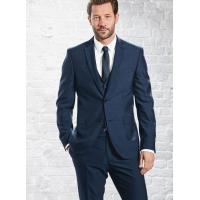 Mens 3 Piece Suits with Single Back Vent / Customized Blue Formal Wear Manufactures