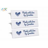 China Sewing Garment Fabric Material Woven Clothing Labels Embroidered Blue On White on sale
