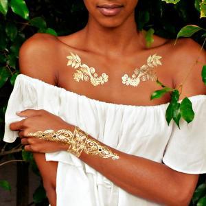 henna tattoo sticker, metallic jewelry tattoo, sexy gold temporary tattoo Manufactures