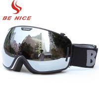 Big Spherical Black Mirrored Ski Goggles , Anti Scratch Tinted Snowboard Goggles Manufactures