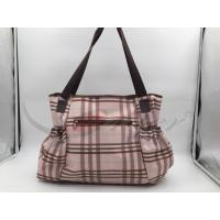 Pink PU Grid Pattern Tote Diaper Bags With Shoulder OEM / ODM Acceptable Manufactures