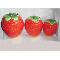 Strawberry Shaped Sealed Ceramic Kitchen Canisters 3 Set Hand Painted Manufactures