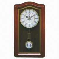 Special Shape Wooden Wall Clock with Pendulum, Elegant Design, OEM and ODM Orders Welcomed Manufactures
