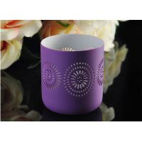 China Purple pattern Porcelain Candle Holder Bowl / Hollow Ceramic Candle Houses on sale