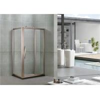 Rose Gold Aluminum Alloy Shower Cabins Rectangler With Outside Wheels Sliding Tempered Glass Manufactures