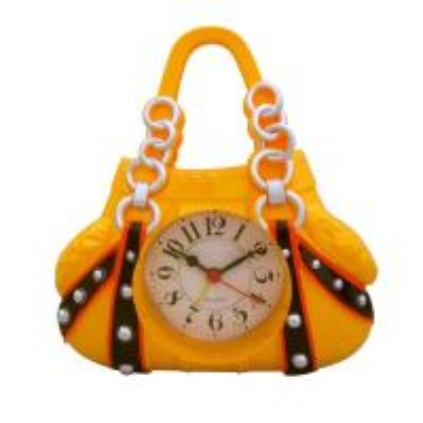 Quality luxury women handbag shape yellow alarm clock for sale