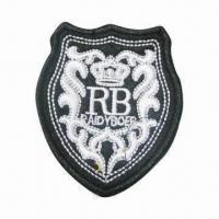 Die-cut Special Emblem, Measures 5 x 9cm, Made of Canvas and Embroidered Patch Manufactures