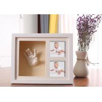 China Wooden 3D Hand And Foot Casting Kits Photo Frame White Baby Shower Gifts for sale