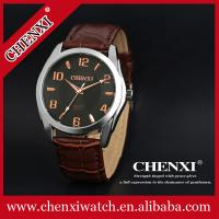 FOB Guangzhou Cheap Price OEM Small MOQ Wristwatches Man Hot Sale Brown Wine Stainless Steel Leather Wrist Watch Manufactures