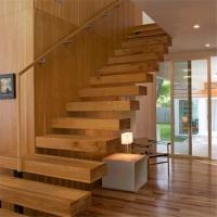 Straight floating wood staircase with modern design Manufactures