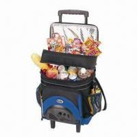 Rolling Radio Cooler Bag with FM/AM Radio, Made of 600D Manufactures