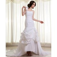 Womens Extra Long Train ruffled slim Wedding Dresses with Flower Shaped Manufactures