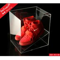 China PMMA Display Stroage Transparent Shoe Boxes Red 26 x 26 x 26cm on sale