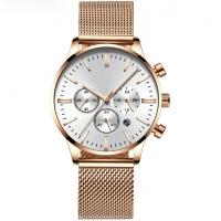 Stainless Steel Mesh Band Chronograph Watch Men Luxury Quartz OEM Watches Manufactures