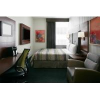 Quality Hotel Bedroom Furniture Mahogany wood headboard Bed and Fixed Millwork TV Wall for sale