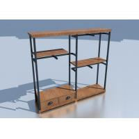 Wooden Adjustable Metal Rack Shelf / Store Clothing Racks Disassemble Structure Manufactures