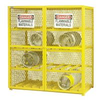 China Yellow Compressed Gas Cylinder Storage Cages With Easily Accessible Hinged Doors on sale