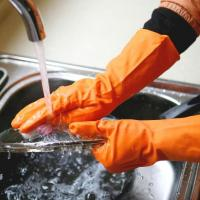 China Dishwashing Kitchen Rubber Gloves  Latex  Household Gloves For Kitche on sale