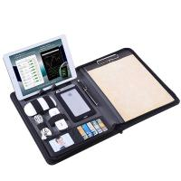 Zippered Business Portfolio PU Leather Made With Removable Notepad Clipboard Manufactures