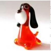 Handmade Lampwork Glass Animals , Red Body Black Ear Glass Dog Figurines 7cm Manufactures