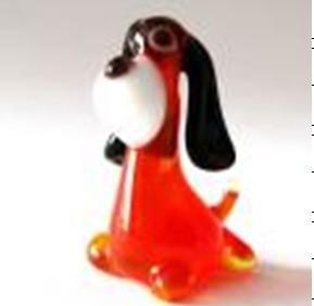 Handmade Lampwork Glass Animals , Red Body Black Ear Glass Dog Figurines 7cm