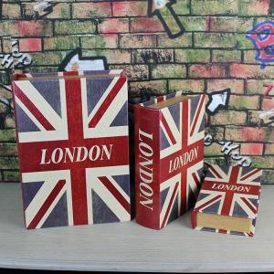 UK flag Decorative Book Shape Storage Boxes Antique Book Storage Boxes Empty Glove Compartment Storage Box Manufactures
