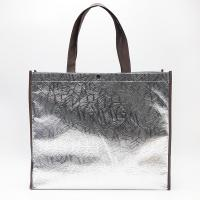 100gsmSilver color  black handle Aluminum film Non Woven Tote Shopping Bag with  fastener Manufactures