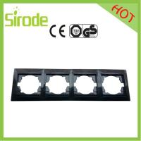 Black Four Gang Wall Face Plate For European Switch&Socket Combination Manufactures