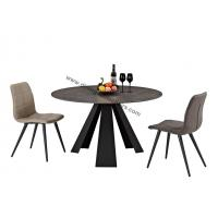 China Round Stone Look Dining Table , Tempered Glass Dining Table Heavy Duty Steel Leg on sale