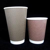 China Logo Printed Disposable Paper Cup Ripple Paper Coffee Cups Recyclable Flexo Printing on sale