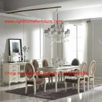 Quality Ivory Neoclassical Dining Room Furniture collection by rubber wood with Glass or Marble table top for sale