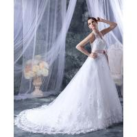 Fashion Appliques around the neck V Neck Wedding Dresses with Pink Belt Manufactures