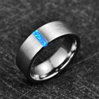 2019 Nuncad 8mm Width Men's Ring Wedding Band Engagement Ring Inlaid Blue Opal Surface Brushed Tungsten Carbide Ring Manufactures