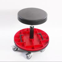 Car Repairing Worker Ergonomic Work Chair PU Leather Seat With Round Tools Box Manufactures