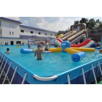 Rectangle Metal Frame Paddling Pool 0.9mm PVC Tarpaulin For Water Park Manufactures