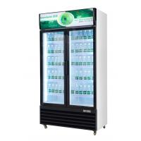 China Upright Glass Door Beverage Display Cooler With Wheel R134a Gas on sale