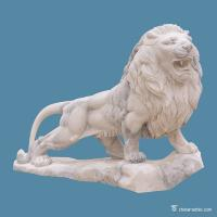 China White Marble Stone Carving Sculpture Animal Lion , Contemporary Stone Sculpture on sale