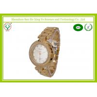China Gold Luxury Quartz Ladies Watches Waterproof 5 ATM With 60 Diamonds on sale